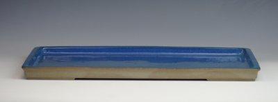 画像1: 相羽 鴻陽 作 「烏泥内均釉外縁切足長方水盤」