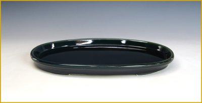 画像1: 寿悦 作 「瑠璃釉外縁玉縁楕円水盤」